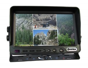 Seven-inch OverView monitor with quad screen showing images of Mount Rushmore