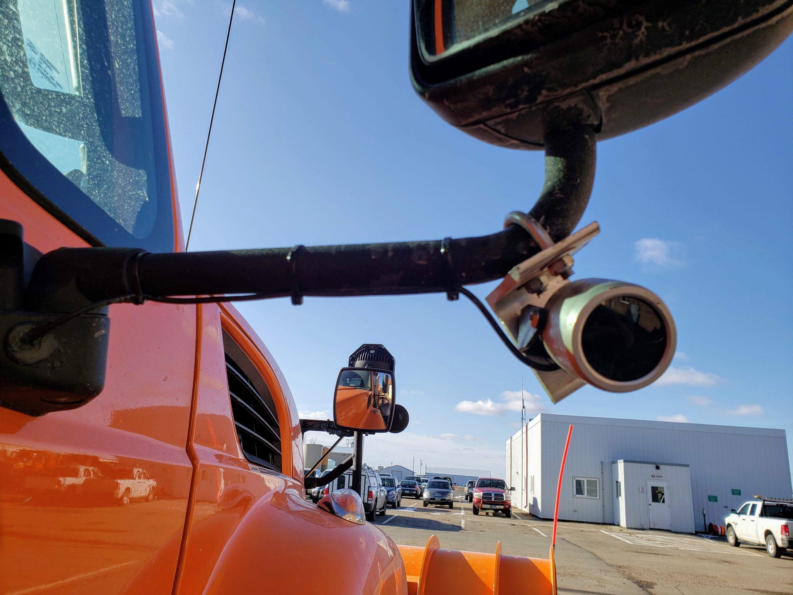 EnduraCam on side mirror of ND DOT plow truck