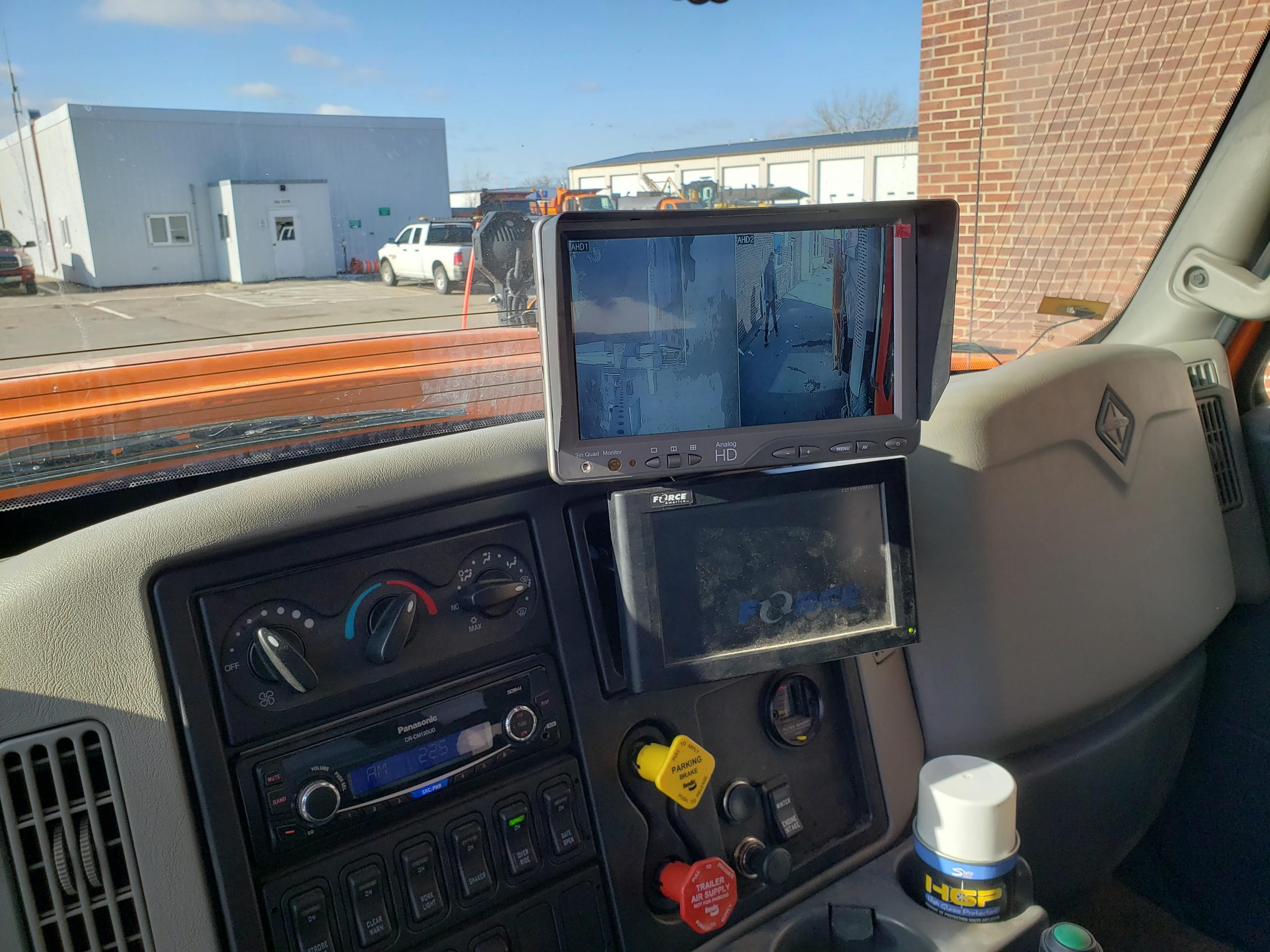 9 inch HD Quad monitor in ND DOT plow truck cab