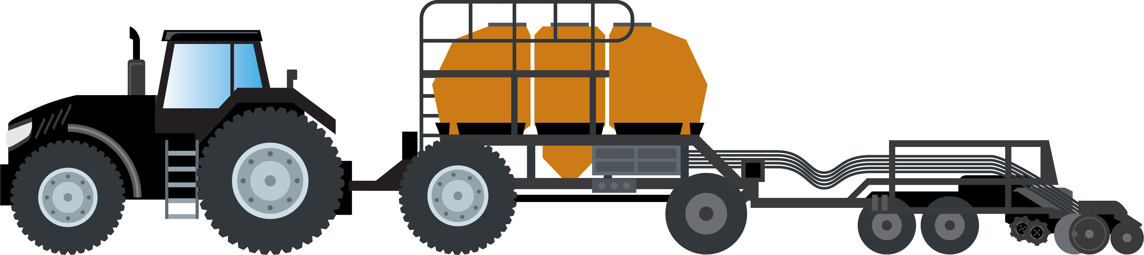Image of animated tractor with air seeder and tank setup