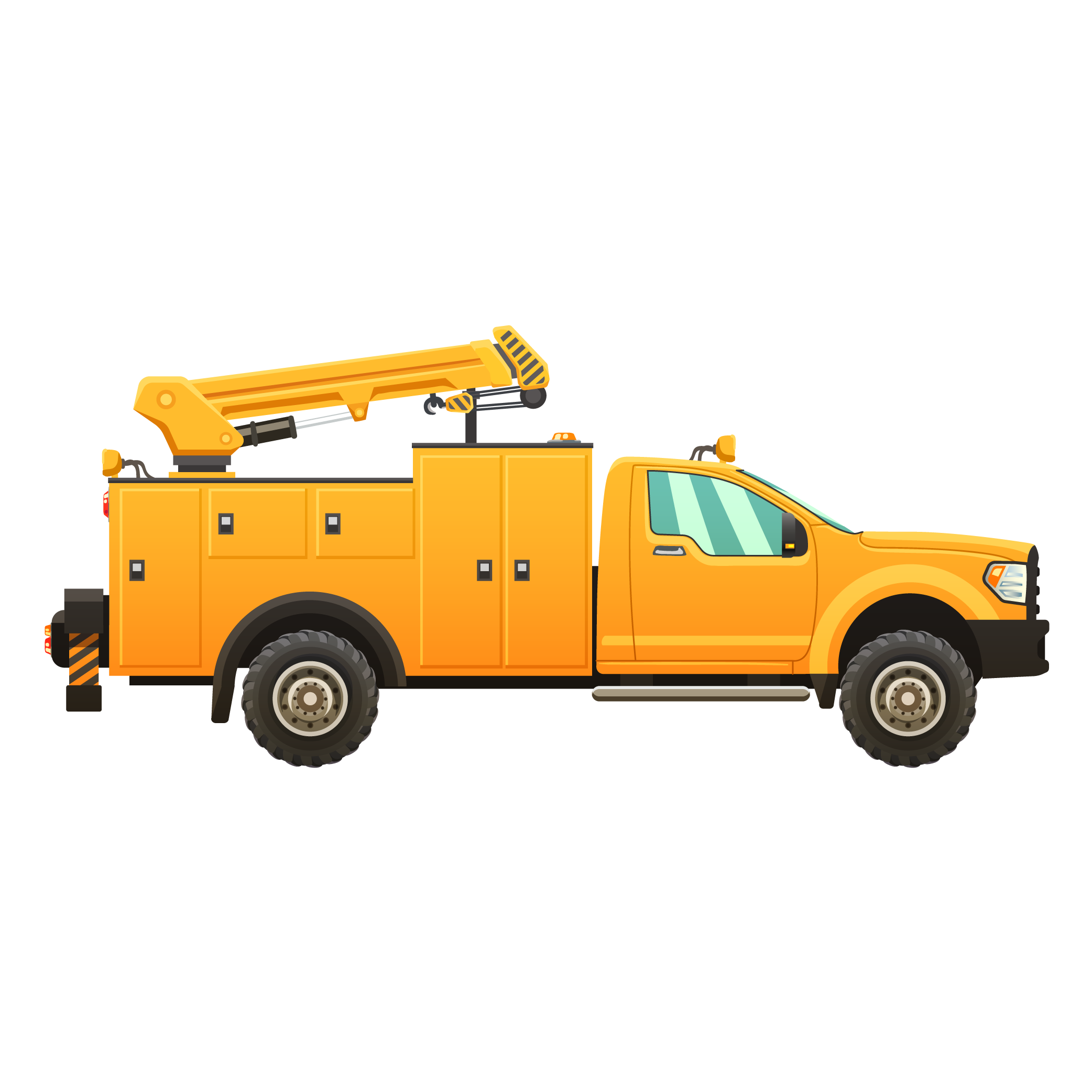 Yellow Service Truck with Boom Arm